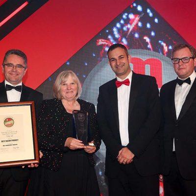 BRITAIN'S BEST BACON – Ocado / Tulip Ltd. L-R: Category partner Sean Ryan of Kerry, Rose Price of Ocado, Chris Saynor of Tulip ltd and Miles Jupp.