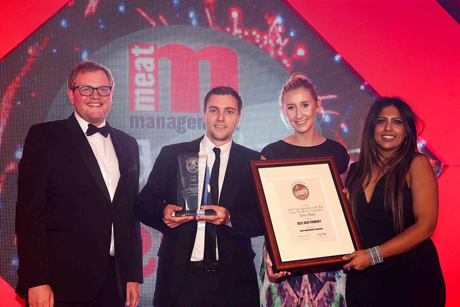 BRITAIN'S BEST BEEF PRODUCT – Dawn Meats / Asda. L-R: Miles Jupp, David Shapland and Rebecca Bassett of Dawn Meats and category partner Monisha Singh of AHDB Beef & Lamb.