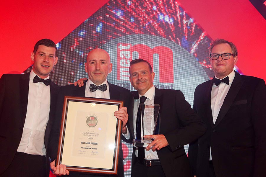 BRITAIN'S BEST LAMB PRODUCT – Dunbia / Co-op. L-R: Category partner Matt Southam of AHDB Beef & Lamb, Rob McBride of Co-op, Ed Reaney of Co-op and Miles Jupp.