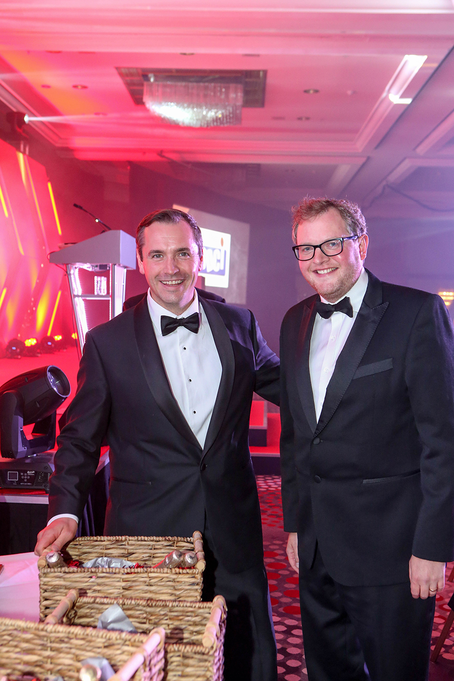 James Shepperton of Shepperton Butchers (who collected a raffle prize on behalf of The Yorkshire Wagyu Company's Jonathan Shepherd) with Miles Jupp.