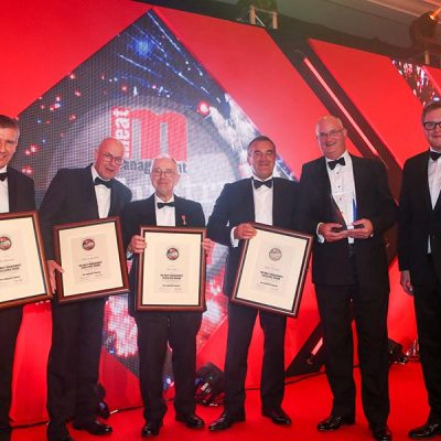 The Excellence Award Finalists. L-R: Ian Stevenson of Livestock & Meat Commission for Northern Ireland, Dick van Leeuwen of AHDB Beef & Lamb, John Taylor of Taylors Butchers, category partner  Neil Dunn of Sealed Air, Julien Pursglove of Sainsbury's and Miles Jupp.