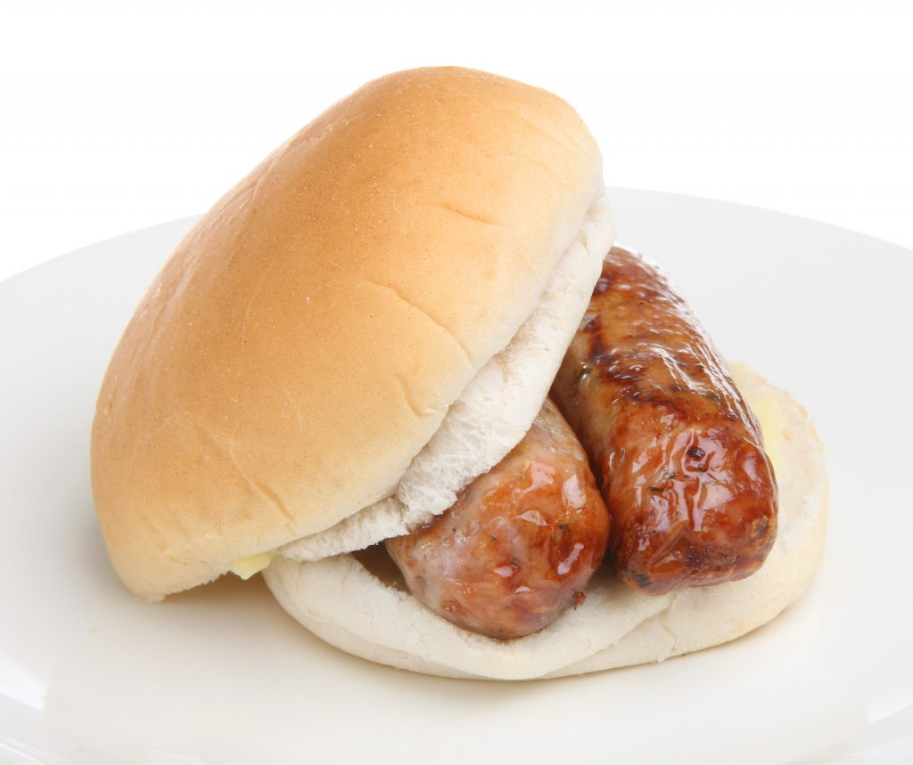 A grilled Cumberland sausage in a buttered plain white bap with ketchup and fried onions is the nation's favourite sausage sandwich.