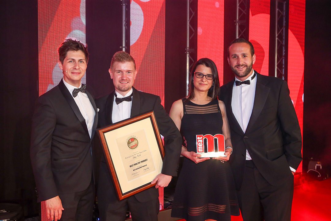 Best Poultry Product - Host Ben Hanlin, winners Nathan Hart of Moy Park and Ana Nicula of Ocado and category partner Andy Garner of Proseal.