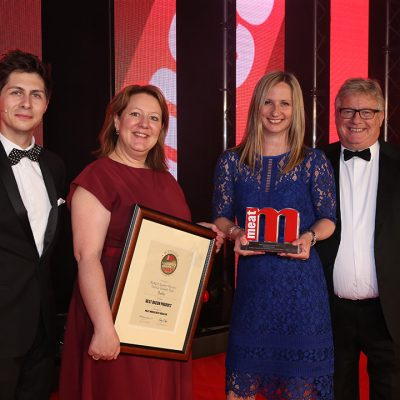 Best Bacon Product - Host Ben Hanlin, winners Freddie Brisbane and Naomi Davies of Booker, and category partner Bryan Day of Kerry Taste & Nutrition.