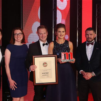 Best Beef Product - Host Ben Hanlin, winners Laura Saunders and David Cole of Aldi and Gillian Armstrong of Linden Foods, and category partner Henry Brook of Multivac.