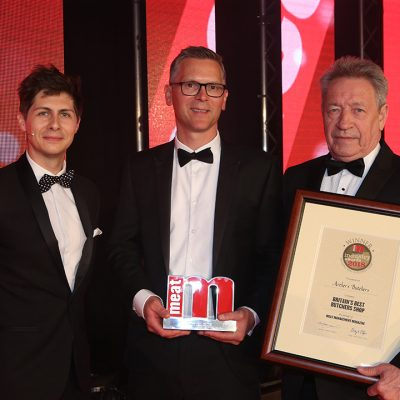 Britain's Best Butcher's Shop - Host Ben Hanlin, winner Jamie Archer of Archer's Butchers and category partner Keith Fisher of The Institute of Meat.