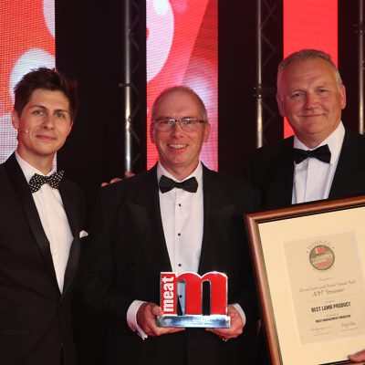 Best Lamb Product - Host Ben Hanlin, winner James Hutcheson of ABP Yetminster and category partner Andy Lea of Weddel Swift.