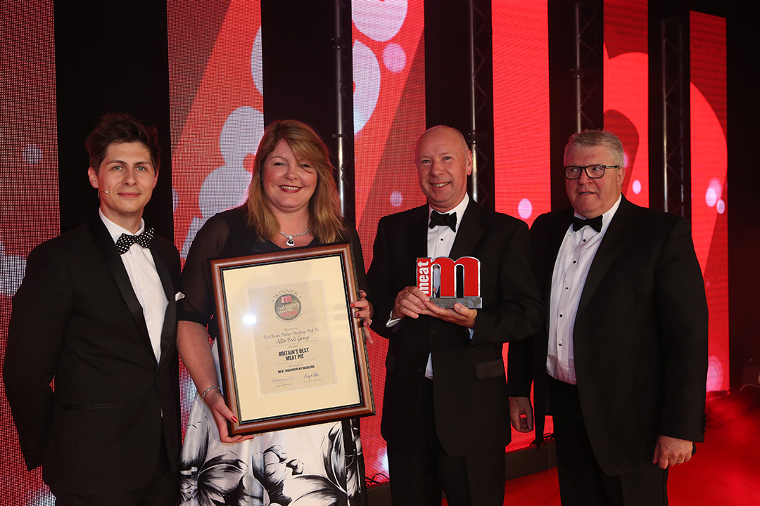 Britain's Best Meat Pie - Host Ben Hanlin, winners Kim Burgess of Addo Food Group and Tony Ombler of Tottle Bakery, and category partner Arthur Pynenburg of Treif UK Ltd.