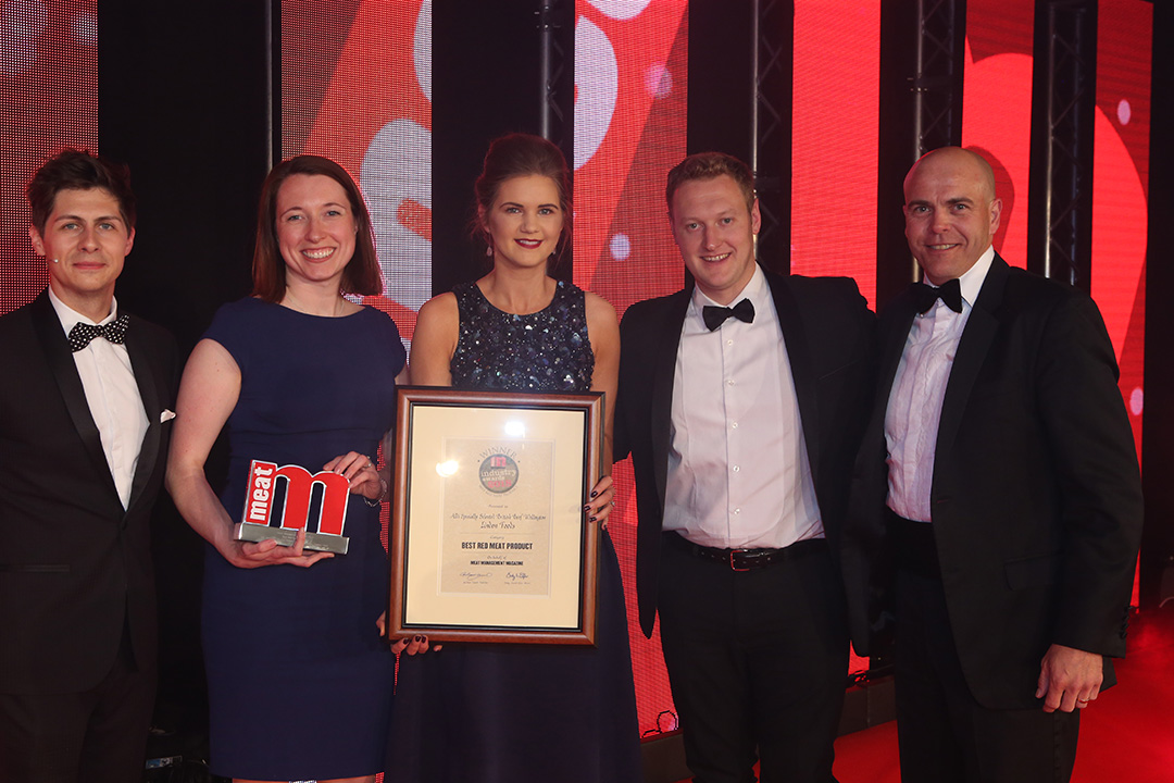 Best Red Meat Product - Host Ben Hanlin, winner Gillian Armstrong of Linden Foods and colleagues, and category partner Graeme Rolinson of Marel.