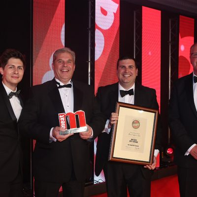 Britain's Best Sausage - Host Ben Hanlin, winners Richard Taylor and Carl Evans of Owen Taylor & Sons, and category partner Ed Hewitt of Reiser.