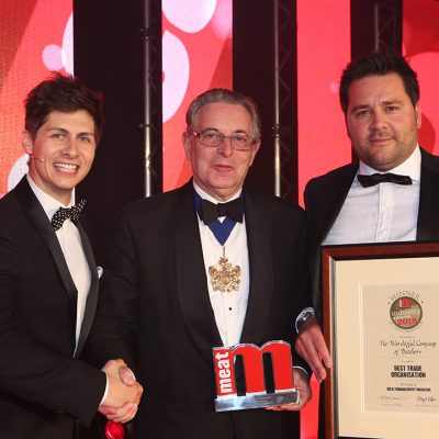 Best Trade Organisation - Host Ben Hanlin, winner Geoff Gillo – Master of The Worshipful Company of Butchers and category partner Ross Layton of G Mondini.