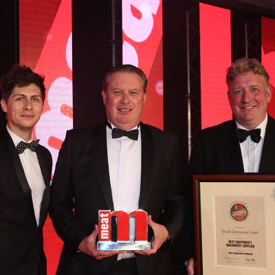 Best Equipment/Machinery Supplier - Host Ben Hanlin, winner Alan Major of Urschel International Limited and category partner Rob Shelley of Maritime Cargo Services.