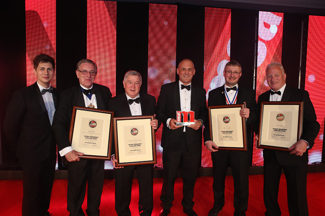 The Excellence Award Finalists. L-R: WCB Master Geoff Gillo, Professor Ralph Early, Dave Smith, John Mettrick and category partner Simon House.