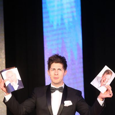 Magician and co-host Ben Hanlin in action.