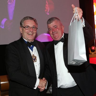 Handtmann Ltd was presented with the third raffle prize by Master of the Worshipful Company Butchers Geoff Gillo.