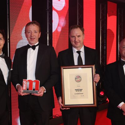 Manufacturer of the Year - Host Ben Hanlin, winners Ken Hallahan and Michael Doran of Dunbia and category partner Mark Bishop of Interfood.