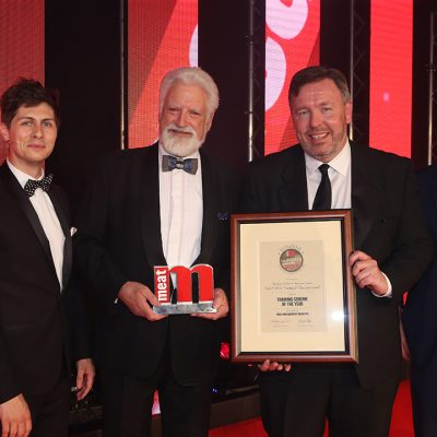 Training Scheme of the Year - Host Ben Hanlin, winners Bill Jermey and Terry Fennell of the Food & Drink Training & Education Council, and category partner Dave Curzon of Bizerba.