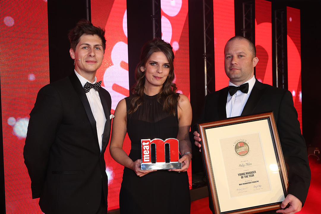 Young Manager of the Year - Host Ben Hanlin, winner Holly Miles of Dunbia and category partner Richard Smith of SF Engineering.