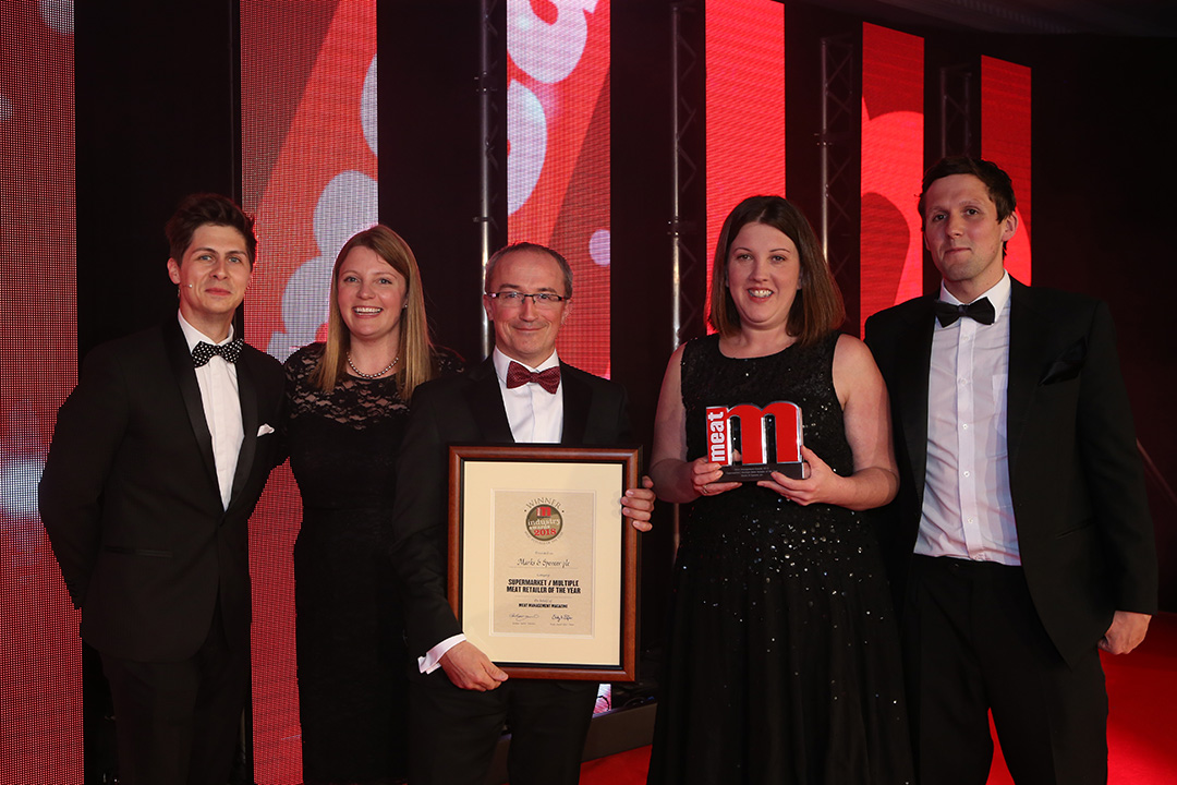 Supermarket/Multiple Meat Retailer of the Year  - Host Ben Hanlin, winner Anna Calvert of Marks & Spencer and colleagues, and category partner Emmet Doyle of Bord Bia.