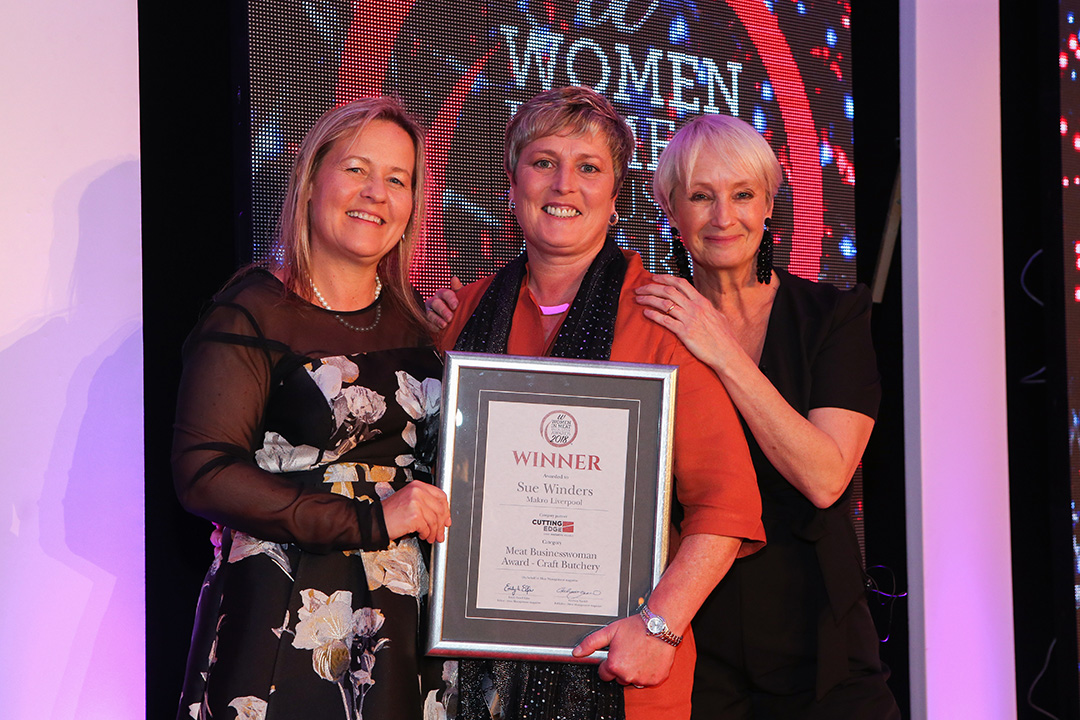 MEAT BUSINESSWOMAN AWARD: CRAFT BUTCHERY - Award partner Sam Tinsley of Cutting Edge Services, winner Sue Winders of Makro and Lesley Waters.