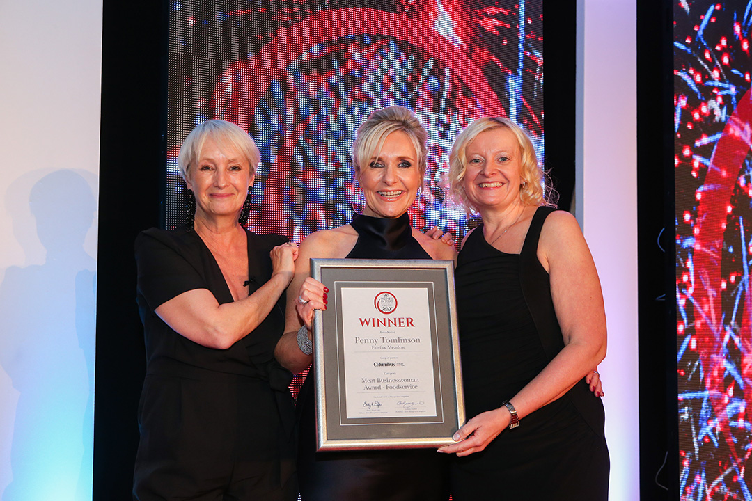 MEAT BUSINESWOMAN AWARD: FOODSERVICE - Lesley Waters, winner Penny Tomlinson of Fairfax Meadow and award partner Mary Hunter of Columbus.