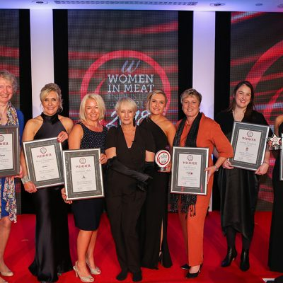The 2018 Women In Meat Industry Awards winners with celebrity host Lesley Waters.