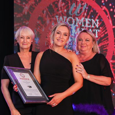 MEAT BUSINESSWOMAN AWARD: MANUFACTURING/PROCESSING - Lesley Waters, winner Lisa Hand of Dunbia and award partner Michelle Jackson of Proseal UK.