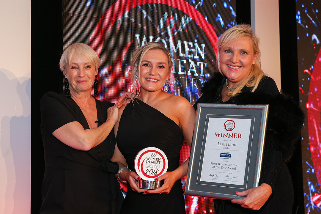 MEAT BUSINESSWOMAN OF THE YEAR AWARD - L-R: Lesley Waters, winner Lisa Hand of Dunbia and award partner Charlotte Huggins of Kerry.