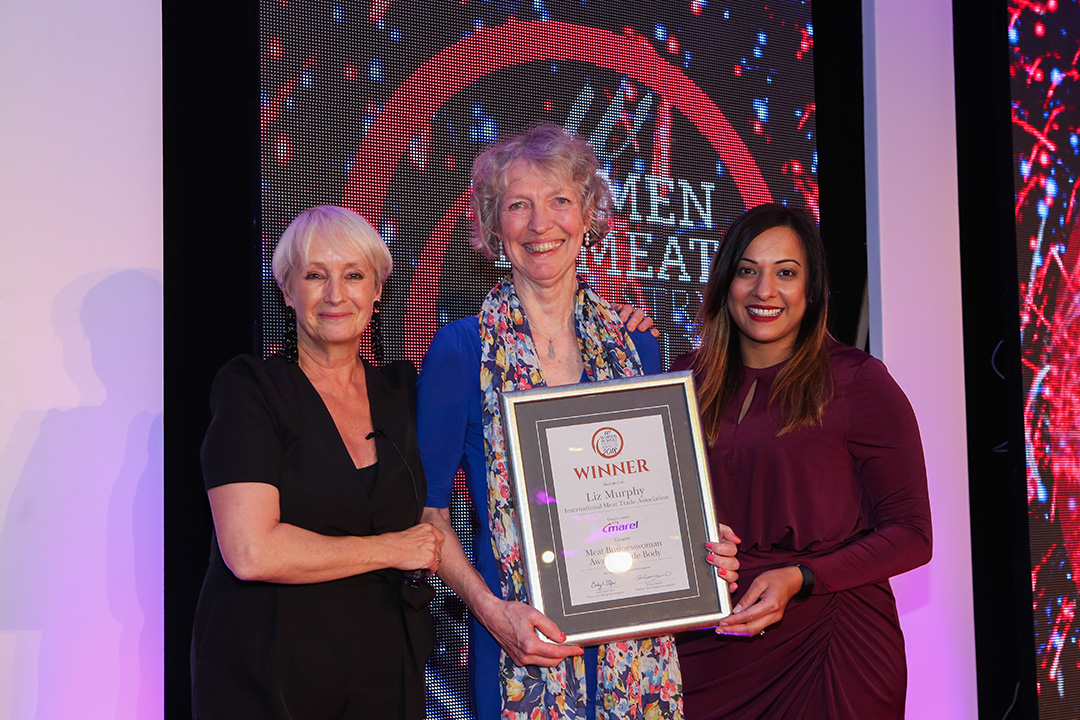 MEAT BUSINESSWOMAN AWARD: TRADE BODY - Lesley Waters, winner Liz Murphy of the International Meat Trade Association and award partner Ravinder Sidhu of Marel.