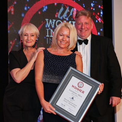MEAT BUSINESSWOMAN AWARD: WHOLESALING - Lesley Waters, winner Lucianne Allen of Aubrey Allen and category partner Rob Shelley of Maritime Cargo Services.