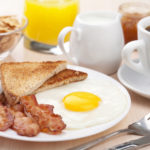 traditional breakfast with fried egg and bacon