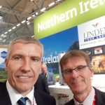 LMC Chief Executive, Ian Stevenson and Chairman, Gerard McGivern, pictured outside the Northern Ireland exhibitors section at Anuga.
